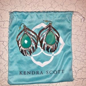 Kendra Scott Gold Leaf Earrings with Green Stone